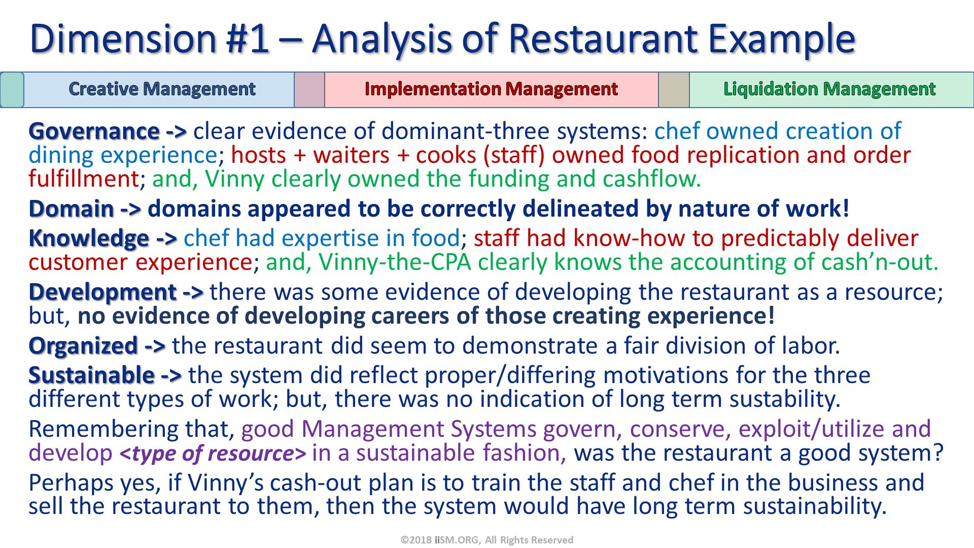 Governance -> clear evidence of dominant-three systems: chef owned creation of dining experience; hosts + waiters + cooks (staff) owned food replication and order fulfillment; and, Vinny clearly owned the funding and cashflow. Domain -> domains appeared to be correctly delineated by nature of work!  Knowledge -> chef had expertise in food; staff had know-how to predictably deliver customer experience; and, Vinny-the-CPA clearly knows the accounting of cash'n-out. Development -> there was some evidence of developing the restaurant as a resource; but, no evidence of developing careers of those creating experience! Organized -> the restaurant did seem to demonstrate a fair division of labor. Sustainable -> the system did reflect proper/differing motivations for the three different types of work; but, there was no indication of long term sustability.   Remembering that, good Management Systems govern, conserve, exploit/utilize and develop <type of resource> in a sustainable fashion, was the restaurant a good system? Perhaps yes, if Vinny's cash-out plan is to train the staff and chef in the business and sell the restaurant to them, then the system would have long term sustainability. Dimension #1 – Analysis of Restaurant Example. ©2018 iiSM.ORG, All Rights Reserved.