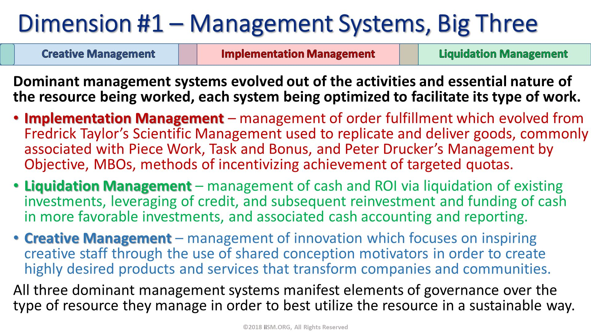 Dominant management systems evolved out of the activities and essential nature of the resource being worked, each system being optimized to facilitate its type of work.  Implementation Management – management of order fulfillment which evolved from Fredrick Taylor's Scientific Management used to replicate and deliver goods, commonly associated with Piece Work, Task and Bonus, and Peter Drucker's Management by Objective, MBOs, methods of incentivizing achievement of targeted quotas. Liquidation Management – management of cash and ROI via liquidation of existing investments, leveraging of credit, and subsequent reinvestment and funding of cash in more favorable investments, and associated cash accounting and reporting.  Creative Management – management of innovation which focuses on inspiring creative staff through the use of shared conception motivators in order to create highly desired products and services that transform companies and communities. All three dominant management systems manifest elements of governance over the type of resource they manage in order to best utilize the resource in a sustainable way. . Dimension #1 – Management Systems, Big Three. ©2018 iiSM.ORG, All Rights Reserved.