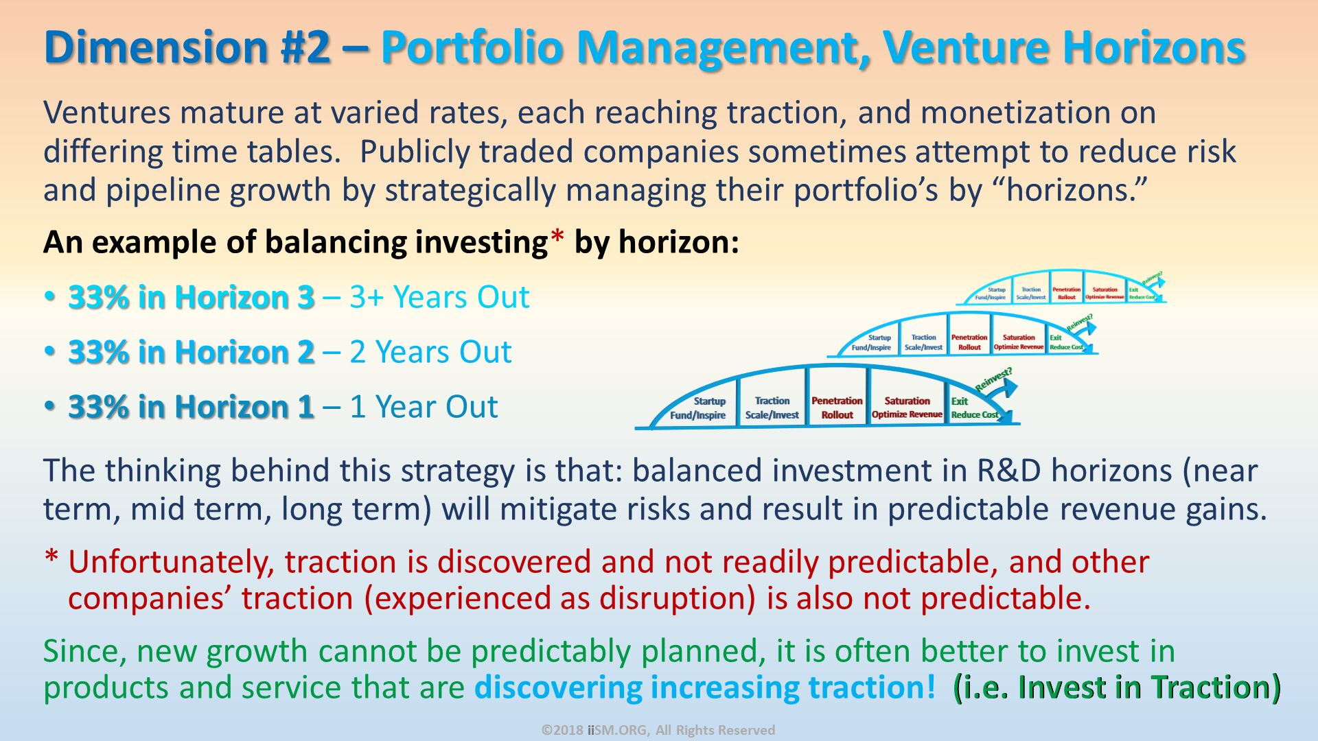 "Ventures mature at varied rates, each reaching traction, and monetization on differing time tables.  Publicly traded companies sometimes attempt to reduce risk and pipeline growth by strategically managing their portfolio's by ""horizons.""  An example of balancing investing* by horizon: 33% in Horizon 3 – 3+ Years Out 33% in Horizon 2 – 2 Years Out  33% in Horizon 1 – 1 Year Out The thinking behind this strategy is that: balanced investment in R&D horizons (near term, mid term, long term) will mitigate risks and result in predictable revenue gains.   Unfortunately, traction is discovered and not readily predictable, and other companies' traction (experienced as disruption) is also not predictable.   Since, new growth cannot be predictably planned, it is often better to invest in products and service that are discovering increasing traction!  (i.e. Invest in Traction). Dimension #2 – Portfolio Management, Venture Horizons. ©2018 iiSM.ORG, All Rights Reserved."