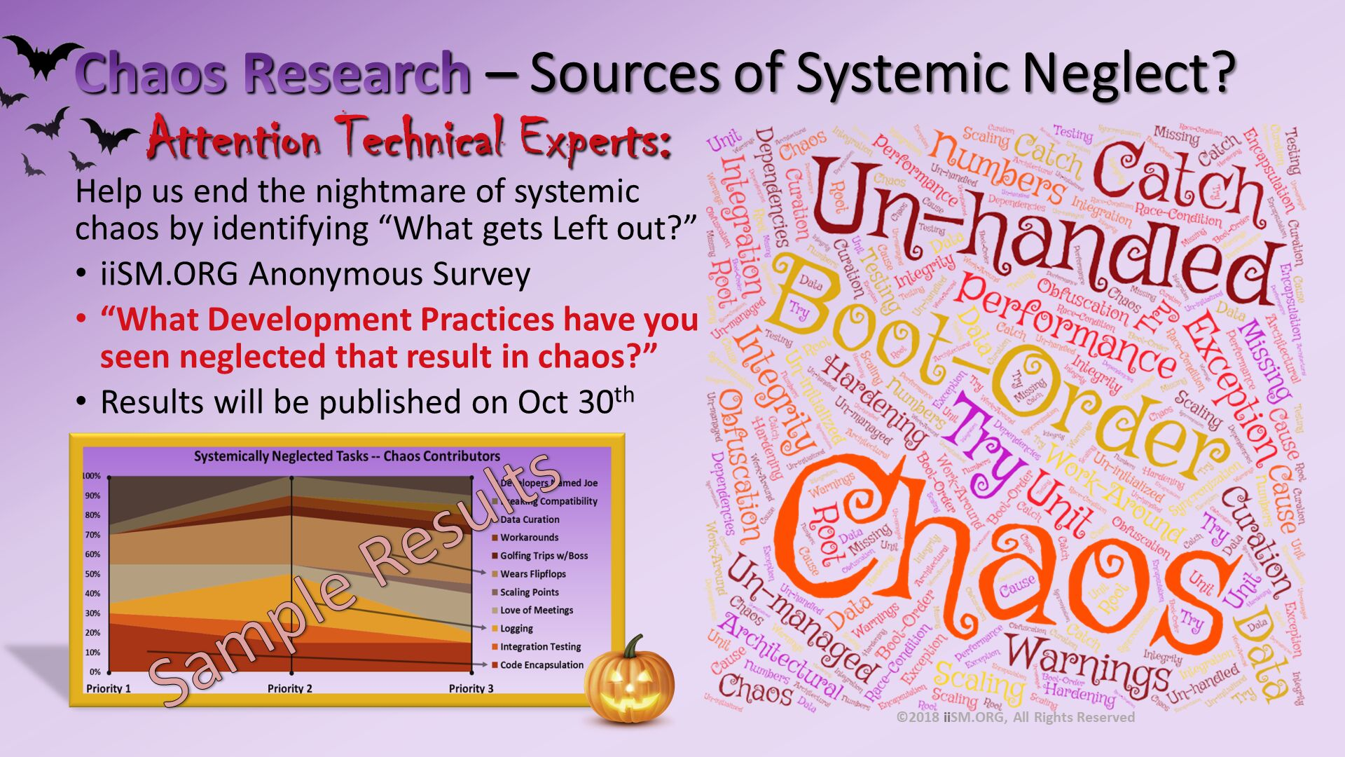 "Chaos Research – Sources of Systemic Neglect?.     Attention Technical Experts:  Help us end the nightmare of systemic chaos by identifying ""What gets Left out?"" iiSM.ORG Anonymous Survey ""What Development Practices have you seen neglected that result in chaos?"" Results will be published on Oct 30th . ©2018 iiSM.ORG, All Rights Reserved. Sample Results."