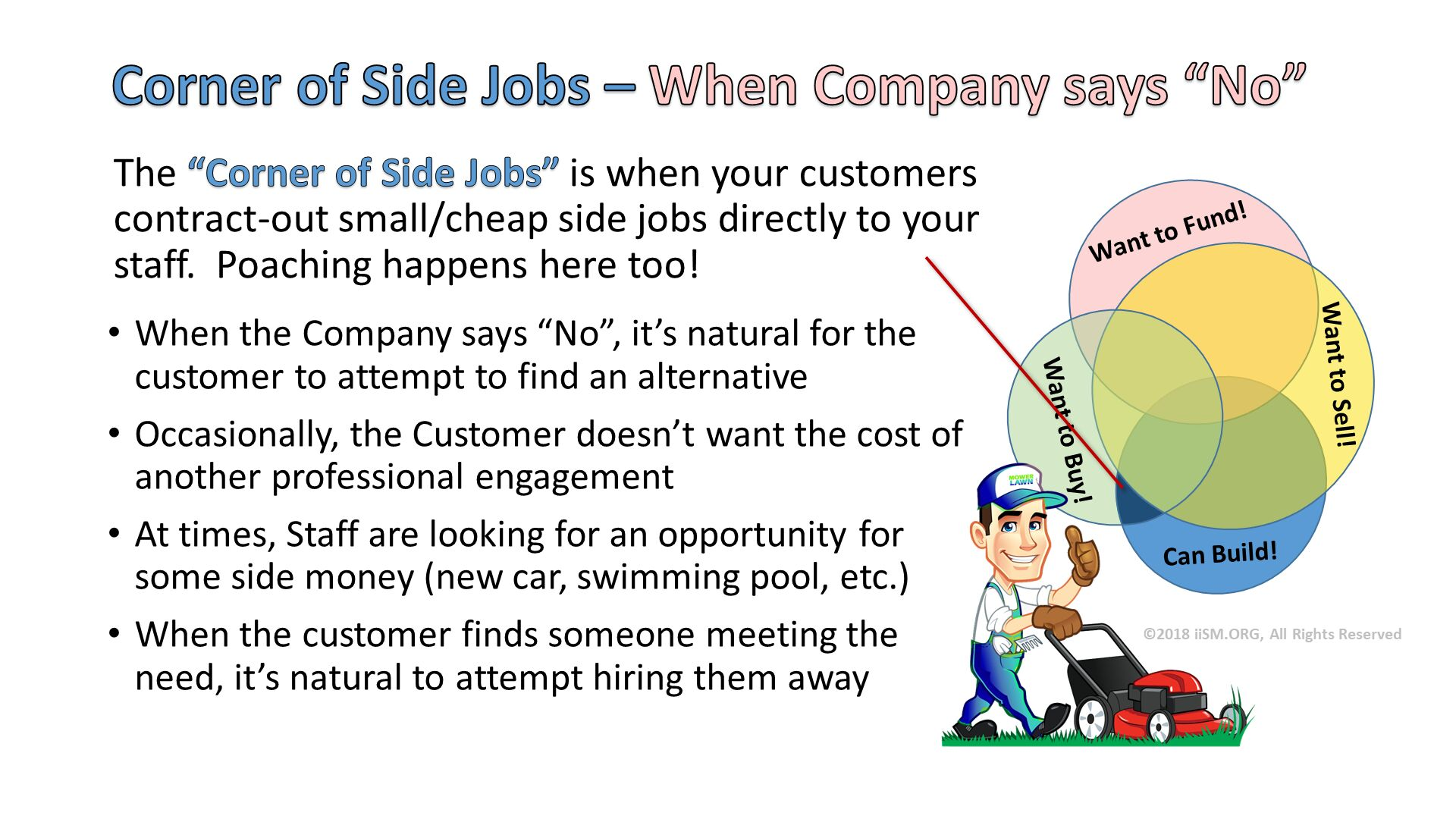 "Corner of Side Jobs – When Company says ""No"". Can Build!. Want to Sell!. Want to Buy!. Want to Fund!. The ""Corner of Side Jobs"" is when your customers contract-out small/cheap side jobs directly to your staff.  Poaching happens here too! . When the Company says ""No"", it's natural for the customer to attempt to find an alternative Occasionally, the Customer doesn't want the cost of another professional engagement At times, Staff are looking for an opportunity for some side money (new car, swimming pool, etc.) When the customer finds someone meeting the need, it's natural to attempt hiring them away . ©2018 iiSM.ORG, All Rights Reserved."