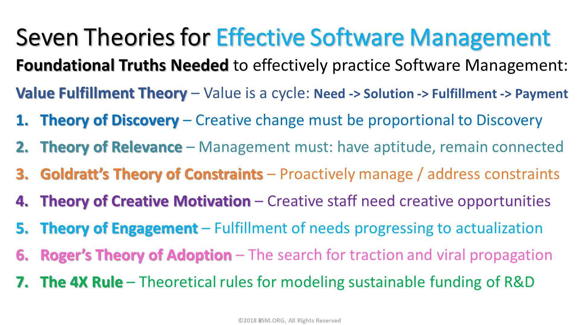 Seven Theories for Effective Software Management. Foundational Truths Needed to effectively practice Software Management: Value Fulfillment Theory – Value is a cycle: Need -> Solution -> Fulfillment -> Payment Theory of Discovery – Creative change must be proportional to Discovery Theory of Relevance – Management must: have aptitude, remain connected Goldratt's Theory of Constraints – Proactively manage / address constraints Theory of Creative Motivation – Creative staff need creative opportunities Theory of Engagement – Fulfillment of needs progressing to actualization Roger's Theory of Adoption – The search for traction and viral propagation  The 4X Rule – Theoretical rules for modeling sustainable funding of R&D. ©2018 iiSM.ORG, All Rights Reserved.