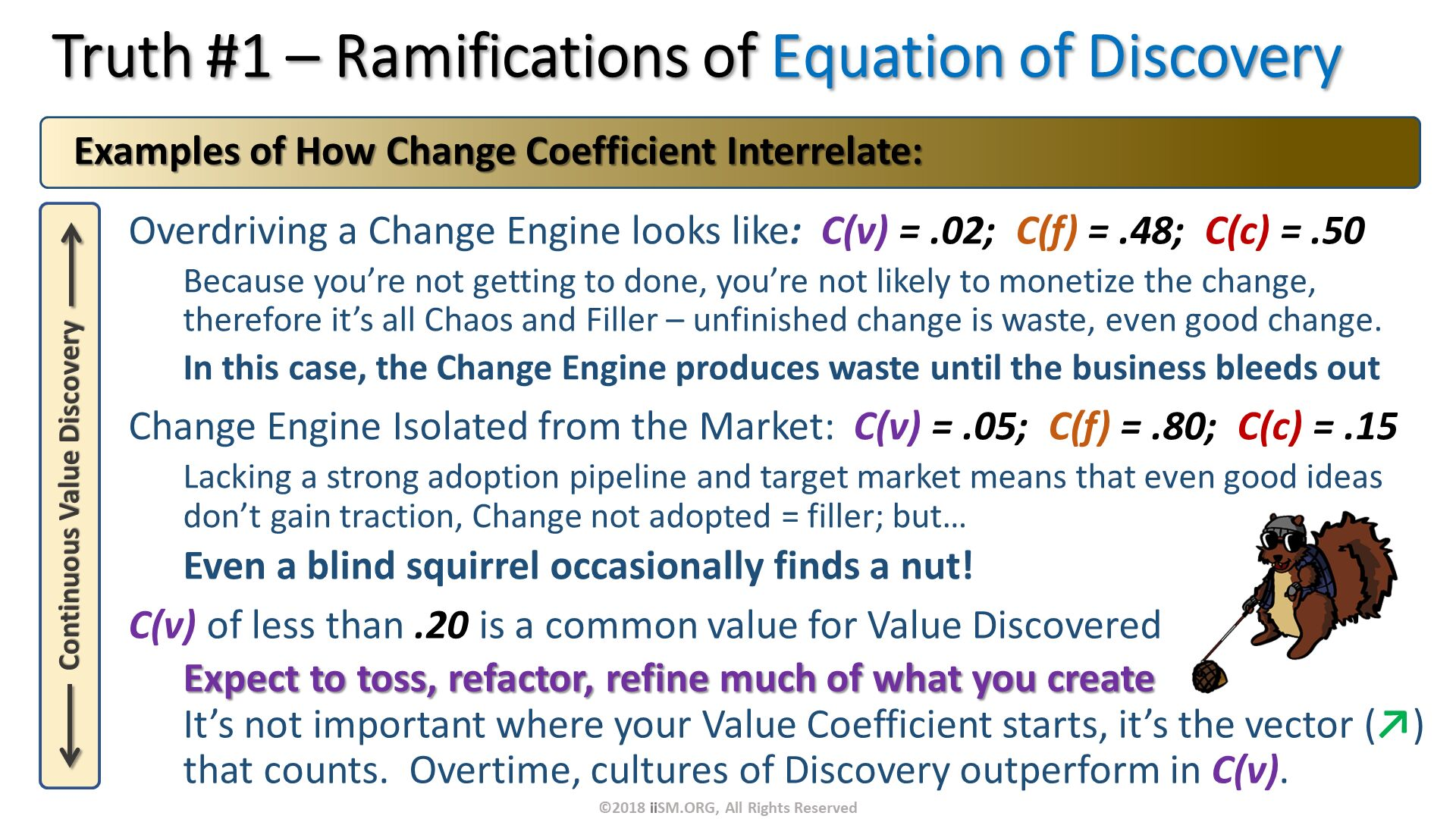 Truth #1 – Ramifications of Equation of Discovery. Overdriving a Change Engine looks like:  C(v) = .02;  C(f) = .48;  C(c) = .50 Because you're not getting to done, you're not likely to monetize the change, therefore it's all Chaos and Filler – unfinished change is waste, even good change. In this case, the Change Engine produces waste until the business bleeds out Change Engine Isolated from the Market:  C(v) = .05;  C(f) = .80;  C(c) = .15 Lacking a strong adoption pipeline and target market means that even good ideas don't gain traction, Change not adopted = filler; but…  Even a blind squirrel occasionally finds a nut!.   Examples of How Change Coefficient Interrelate:. C(v) of less than .20 is a common value for Value Discovered Expect to toss, refactor, refine much of what you createIt's not important where your Value Coefficient starts, it's the vector (↗) that counts.  Overtime, cultures of Discovery outperform in C(v). . ©2018 iiSM.ORG, All Rights Reserved.