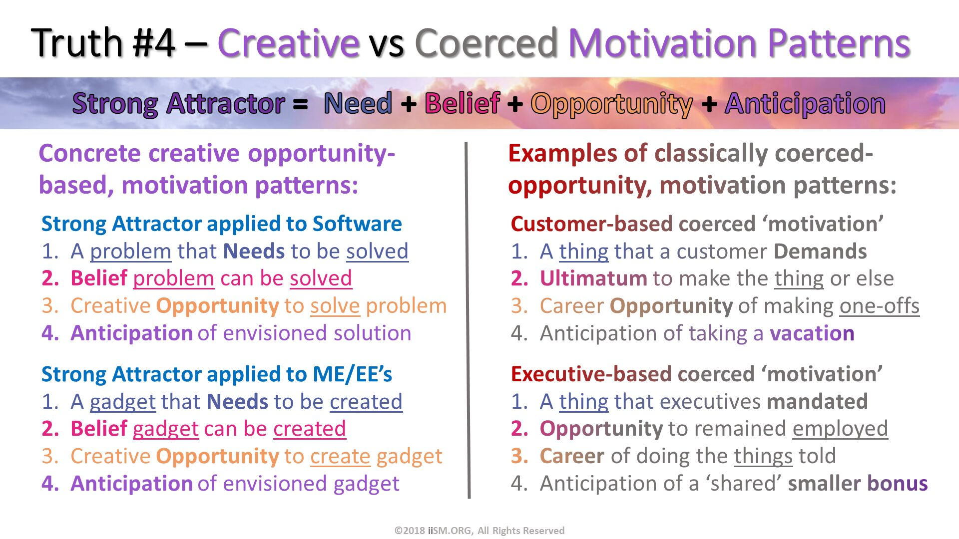 Truth #4 – Creative vs Coerced Motivation Patterns. Customer-based coerced 'motivation' A thing that a customer Demands Ultimatum to make the thing or else  Career Opportunity of making one-offs Anticipation of taking a vacation. Strong Attractor applied to ME/EE's A gadget that Needs to be created Belief gadget can be created Creative Opportunity to create gadget Anticipation of envisioned gadget. Strong Attractor applied to Software A problem that Needs to be solved Belief problem can be solved Creative Opportunity to solve problem Anticipation of envisioned solution. Executive-based coerced 'motivation' A thing that executives mandated Opportunity to remained employed Career of doing the things told Anticipation of a 'shared' smaller bonus. Concrete creative opportunity-based, motivation patterns:. ©2018 iiSM.ORG, All Rights Reserved. Examples of classically coerced-opportunity, motivation patterns:.