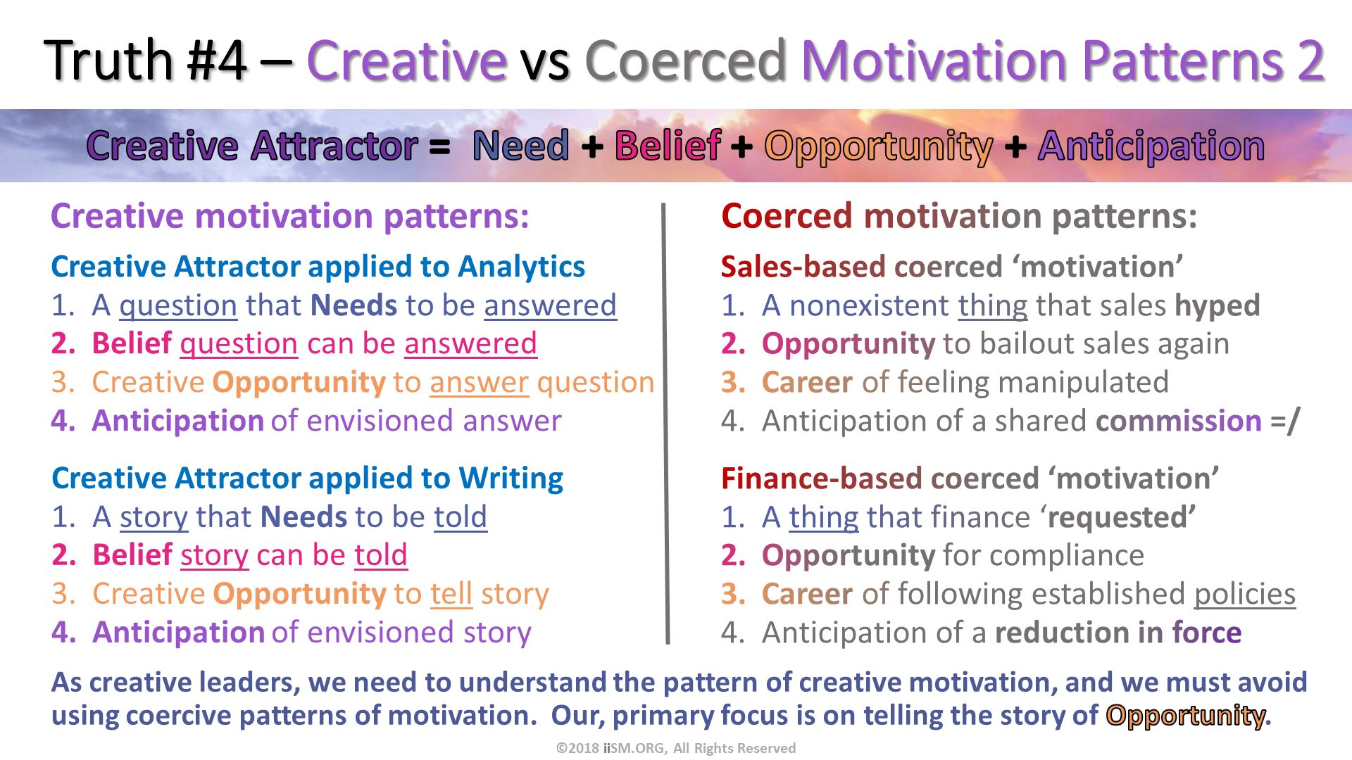 Truth #4 – Creative vs Coerced Motivation Patterns 2. Sales-based coerced 'motivation' A nonexistent thing that sales hyped Opportunity to bailout sales again  Career of feeling manipulated Anticipation of a shared commission =/. Finance-based coerced 'motivation' A thing that finance 'requested' Opportunity for compliance Career of following established policies Anticipation of a reduction in force. Creative motivation patterns:. ©2018 iiSM.ORG, All Rights Reserved. Coerced motivation patterns:. Creative Attractor applied to Analytics A question that Needs to be answered Belief question can be answered Creative Opportunity to answer question Anticipation of envisioned answer. Creative Attractor applied to Writing A story that Needs to be told Belief story can be told Creative Opportunity to tell story Anticipation of envisioned story. As creative leaders, we need to understand the pattern of creative motivation, and we must avoid using coercive patterns of motivation.  Our, primary focus is on telling the story of Opportunity.